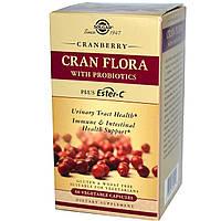Solgar, Cran Flora,с пробиотиками, 60 растительных капсул