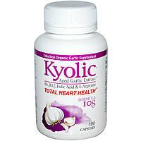 Wakunaga - Kyolic, Пищевая добавка «Совершенно здоровое сердце», формула 108, 100 капсул