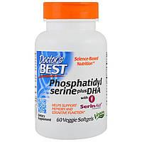 Doctor's Best, Фосфатидилсерин с добавлением докозагексаеновой кислоты, 60 вегетарианских мягких капсул