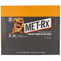 MET-Rx, Батончик Протеин Плюс, Хрустящая Начинка с Арахисовым Маслом, 9 Батончиков, 3,0 унции (85 г) каждый