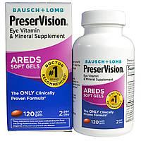 Bausch & Lomb PreserVision, AREDS, витаминная и минеральная добавка для глаз, 120 мягких желатиновых капсул