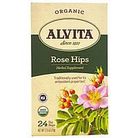 Alvita Teas, Organic, чай из шиповника, без кофеина, 24 чайных пакетика, по 2,75 унции (78 г) каждый