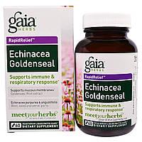 Gaia Herbs, Быстрое облегчение, эхинацея и желтокорень, 60 вегетарианских жидких фито-капсул