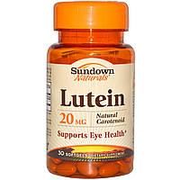 Sundown Naturals, Лютеин, 20 мг, 30 мягких капсул