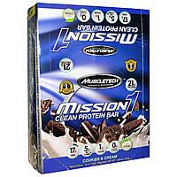 Muscletech, Чистый белковый батончик Mission1, печенье и сливки, 12 батончиков, 2,12 унций (60 г) каждый