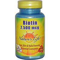 Nature's Life, Биотин, 2500 мкг, 100 вегетарианских капсул