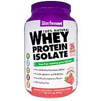 Bluebonnet Nutrition, 100% Натуральный Изолят Сывороточного Протеина с Клубничным Вкусом, 2 фунта (924 г)