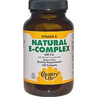 Country Life, Натуральный комплекс витамина E с разными типами токоферола, 400 МЕ, 180 желатиновых капсул
