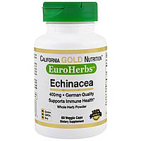 California Gold Nutrition, Эхинацея PWD, EuroHerbs 400 mg, VC MB, 60 карат