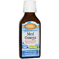 Carlson Labs, Med Omega, концентрат норвежского рыбьего жира, со вкусом лимона и лайма, 3,3 жидких унций (100 мл)