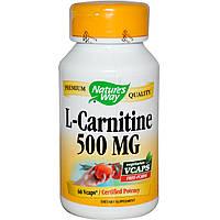 Nature's Way, L-карнитин, 500 мг, 60 растительных капсул