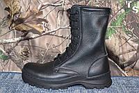 Армейский ботинок «Трек» чёрные кожаные классические