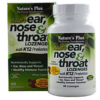 Nature's Plus, Добавка для взрослых «Ухо, Горло, Нос» со вкусом вишни, 60 таблеток для рассасывания