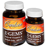 Carlson Labs, E-Gems, Natural Vitamin E, 400 IU, 2 Bottles, 90 Softgels + 44 Soft Gels