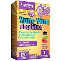 Jarrow Formulas, Yum-Yum Dophilus, без сахара, натуральный малиновый вкус, 120 жевательных таблеток (Ice)