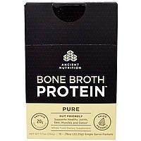 """Ancient Nutrition, """"Белок костного бульона"""", чистый белковый порошок без ароматизаторов, 15 порционных пакетов по 0,78 унции (22,25 г)"""