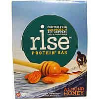 Rise Bar, Протеин + Батончик с миндалем и медом, 12 шт по 60 г