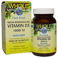 """Natural Factors, Пищевая добавка """"Непочатое море и земля"""", витамин D3, 1000 МЕ, 90 вегетарианских капсул"""