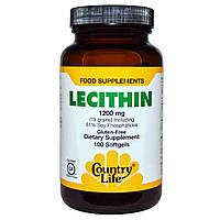 Country Life, Лецитин 1200 мг, 100 капсул