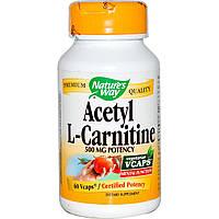 Nature's Way, Ацетил-L-карнитин, 500 мг, 60 растительных капсул