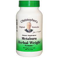 Christopher's Original Formulas, Травяная формула для похудения Metaburn, 450 мг, 100 растительных капсул