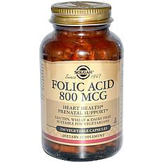 Solgar, Фолієва кислота, 800 мкг, 250 рослинних капсул