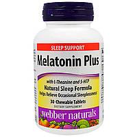 """Webber Naturals, """"Мелатонин плюс с L-тианином и окситриптаном"""", 30 жевательных таблеток"""