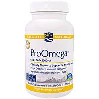 """Nordic Naturals, """"ПроОмега"""", пищевая добавка с омега-3, 1000 мг, 60 мягких желатиновых капсул с жидкостью"""