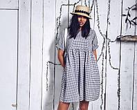 Повседневное платье на лето в мелкую клетку