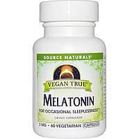 Source Naturals, Истинно Веган, Мелатонин, 3 мг, 60 веганских капсул