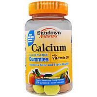Sundown Naturals, Желатиновые мишки с кальцием, аромат персика, банана и вишни, без глютена, 50 мишек