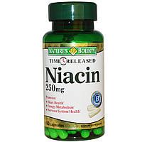Nature's Bounty, Ниацин, с отсроченным высвобождением, 250 мг, 90 капсул