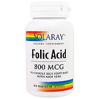Solaray, Фолиевая кислота, 800 мкг, 100 вегетарианских капсул