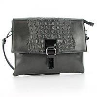 Серая кожаная женская сумка-клатч Velina Fabbiano 35621 с длинной ручкой на плечо, фото 1