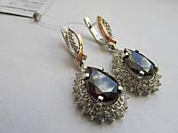 """Серебряные серьги с золотыми пластинами""""Роксолана2"""", фото 1"""
