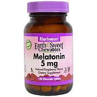 Bluebonnet Nutrition, Жевательные конфеты EarthSweet, мелатонин, натуральный малиновый вкус, 5 мг, 120 жевательных таблеток