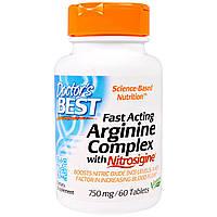 Doctor's Best, Быстродействующий комплекс аргинина с нитросигином 750 мг, 60 таблеток