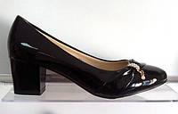 Туфли лак, черные, устойчивый каблук