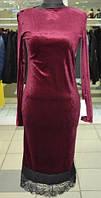 Вечернее платье из бархата с гипюровой отделкой