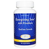 Enzymatic Therapy, Energizing Iron, с элеутерококком, 90 желатиновых капсул