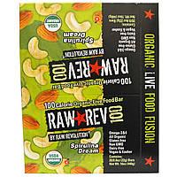 "Raw Revolution, Raw Rev 100, Органический батончик с ""живыми ингредиентами"", Спирулина , 0.8 унций (22 г)"
