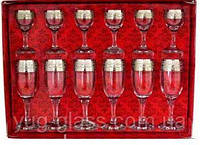 """Набор 12 предметный GE08-419/134 рисунок """"Версаче"""" (бокалы190 мл для шампанского и рюмки 50 мл) ."""