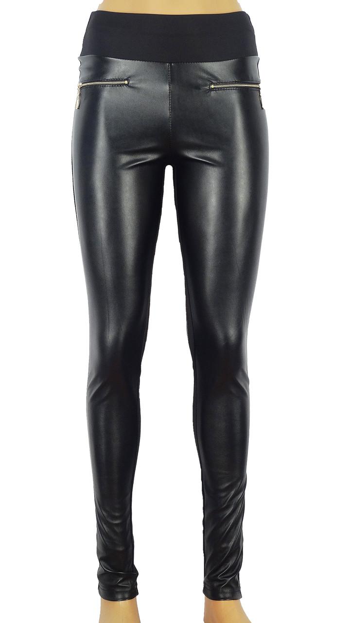 Женские леггинсы с кожаными вставками и молниями 42-48