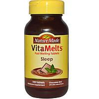 Nature Made, VitaMelts, комплекс витаминов для крепкого и спокойного сна, со вкусом мяты и шоколада, 100 таблеток