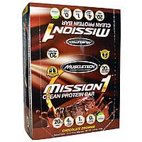 Muscletech, Чистый белоквый батончик Mission1, шоколадное брауни, 12 батончиков, 2,12 унции (60 г) каждый