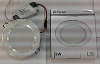 Светодиодная панель встраиваемая Feron AL527 9W 5000K (корпус-белый)