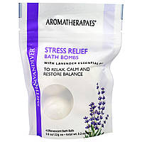 Aromatherapaes, Снимающие стресс бомбочки для ванны с эфирным маслом лаванды, 4 шипучих шарика для ванны по 0,8 унции (22 г)