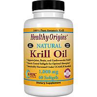 Healthy Origins, Масло криля, натуральный ванильный вкус, 1000 мг, 60 мягких капсул