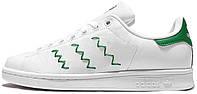 Женские кроссовки Adidas Stan Smith Zig Zag White/Green