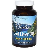 Carlson Labs, Рыбий жир из печени трески, Super 1000 мг, 100 гелевых капсул
